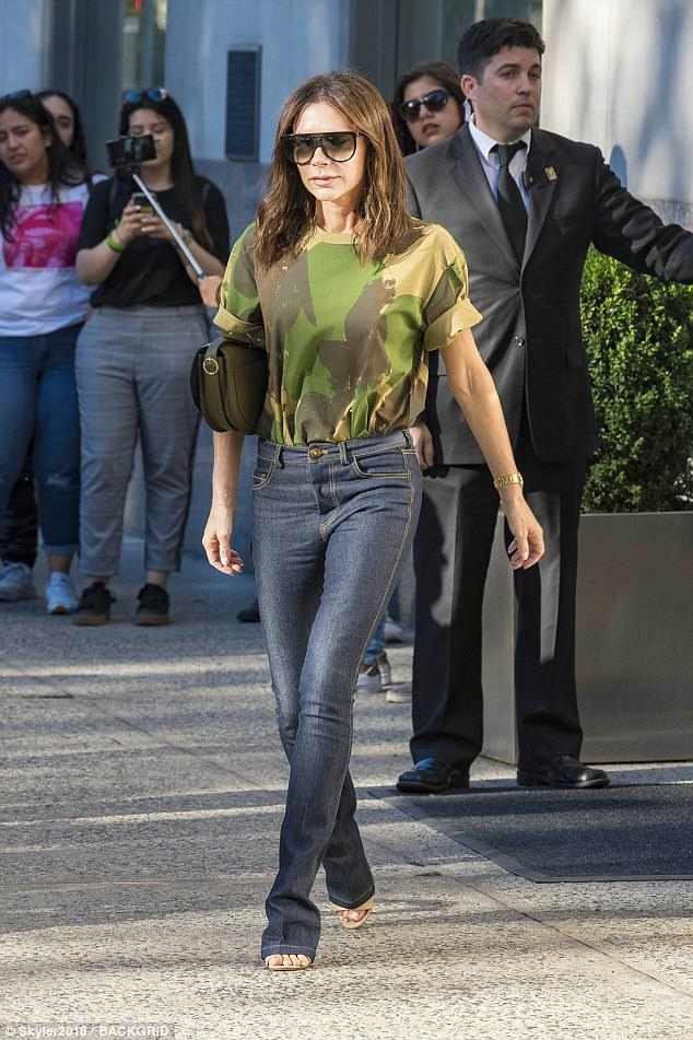 Fashionista: Victoria Beckham, 44, opted for an uncharacteristically causal display as she headed out in New York on Tuesday