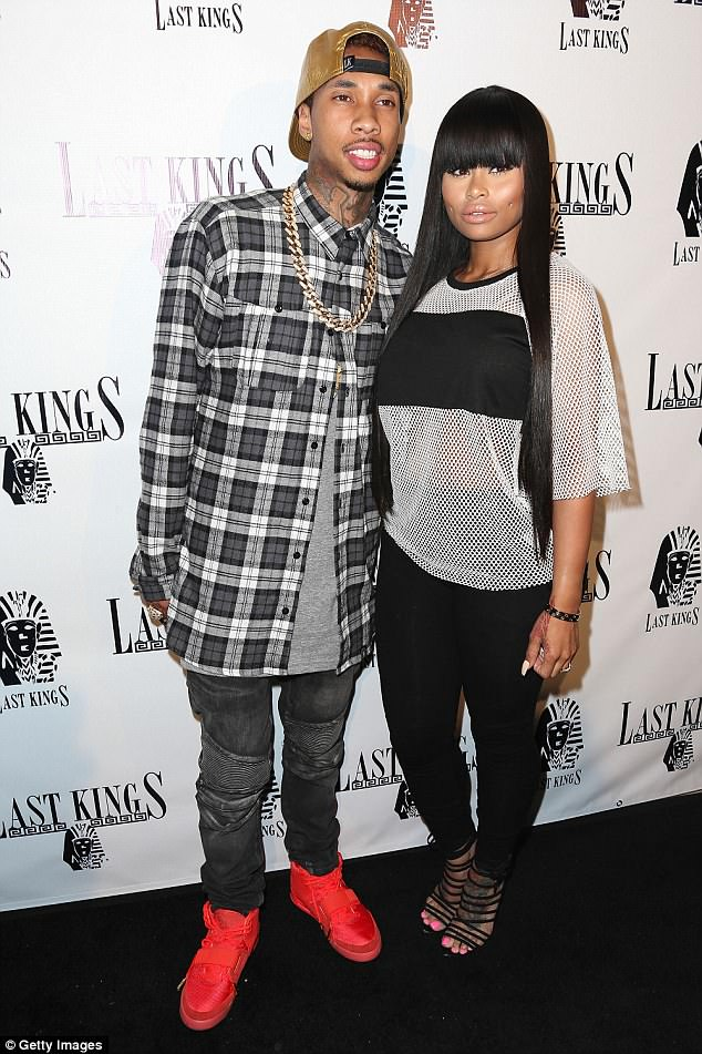 Throwback to 2014:Chyna also has a five-year-old son called King Cairo by the rapper Tyga, 28, (left) who in a bizarre twist used to date Rob's half-sister Kylie Jenner, 20