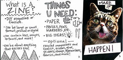 The instructions for your zine workshop can be in zine format, giving participants an idea of the fun and DIY nature of zines