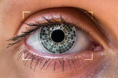 Eye scanning and recognition - biometric identification concept stock photo