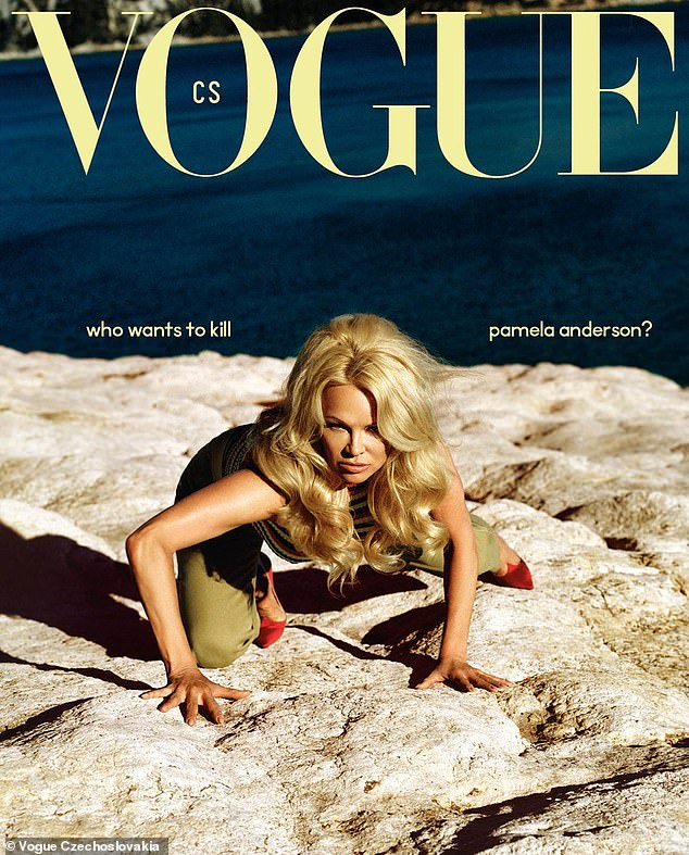 Wild: One image shows the actress crawling across rocks toward the camera while rocking red satin heels and glam curled locks
