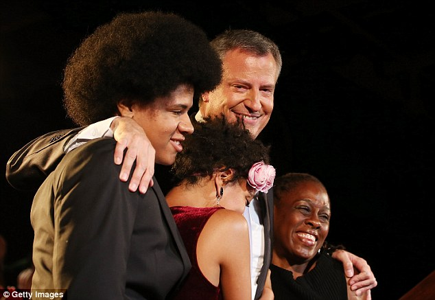 Time to party: Dante's Afro is out at proud at his dad Bill de Blasio's primary night party in September