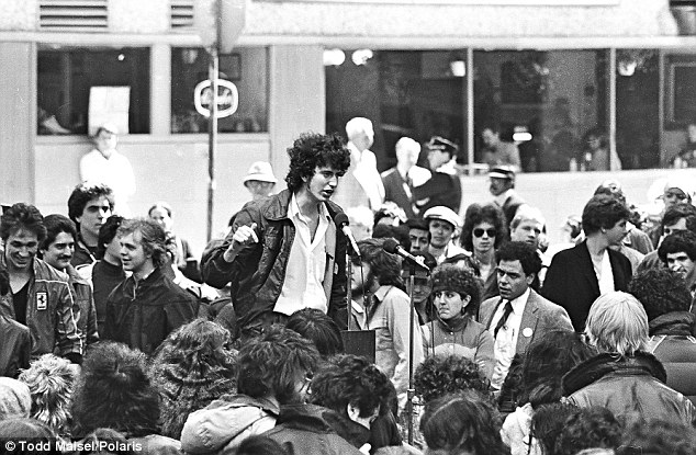 Rough around the edges:  Bill de Blasio - a wild-haired activist known as Bill Wilhelm - protesting against rising college fees at a rally in April 1981