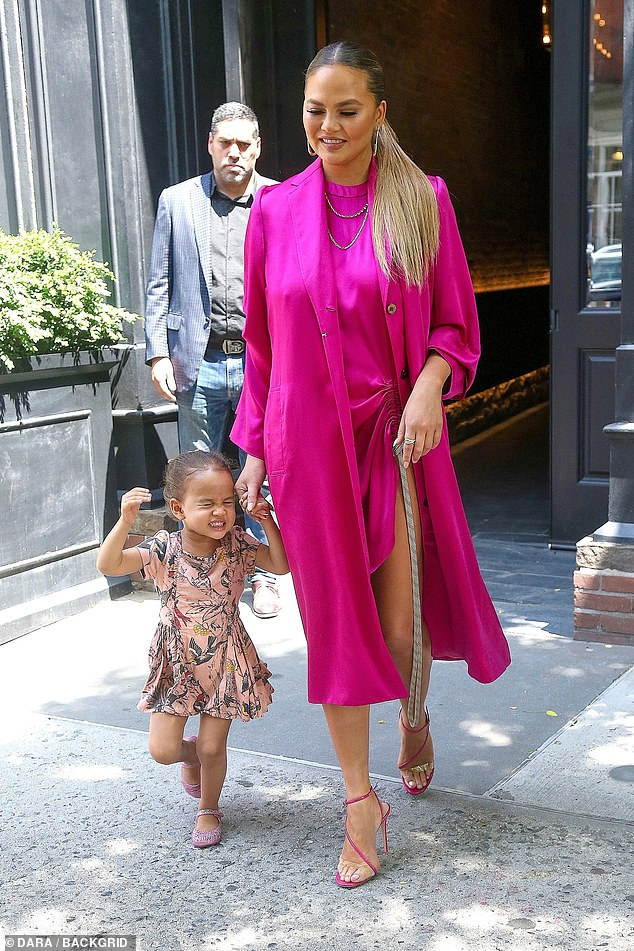 What a Legend: Luna, three, managed to steal the spotlight from mum Chrissy Teigen as they enjoyed a mother daughter outing in the Big Apple on Monday