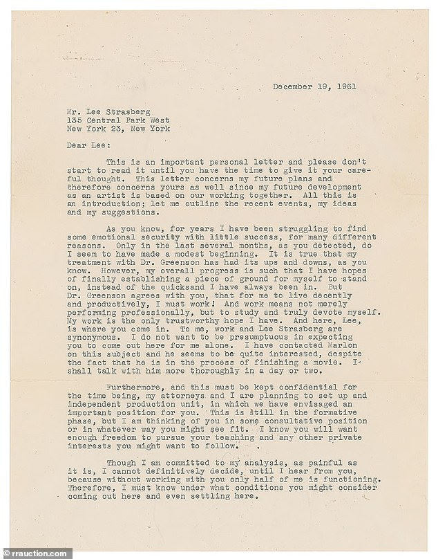This letter from Marilyn Monroe to her mentor Lee Strasberg, telling of her struggle with mental illness, is expected to fetch at least $20,000 on website RRAuction.com