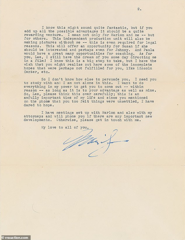 This letter from Marilyn Monroe to her acting mentor Lee Strasberg is expected to fetch at least $20,000 at RRAuction.com
