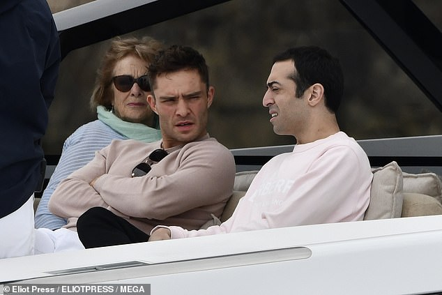 Out and about: Ed Westwick enjoyed lunch in Nice on Tuesday with his mother Carole and pals Michelle Rodriguez and Mohammed Al Turki as the actress wore SLIPPERS outdoors