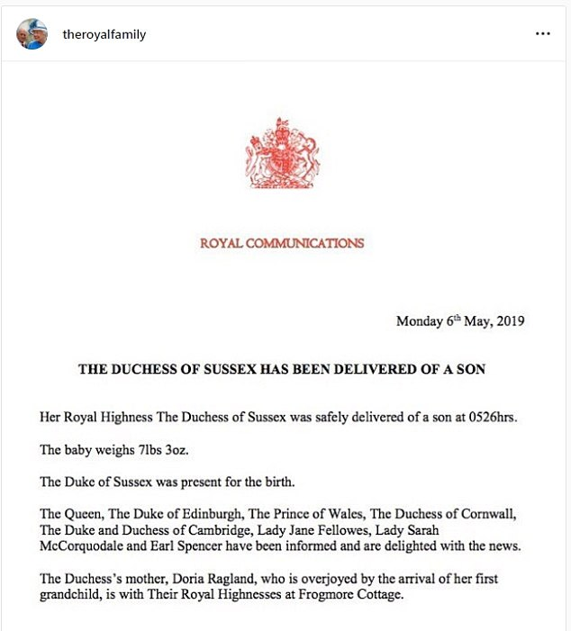 Ragland was even given special mention in the official birth announcement from Buckingham Palace.Royal watchers said the mention was highly significant