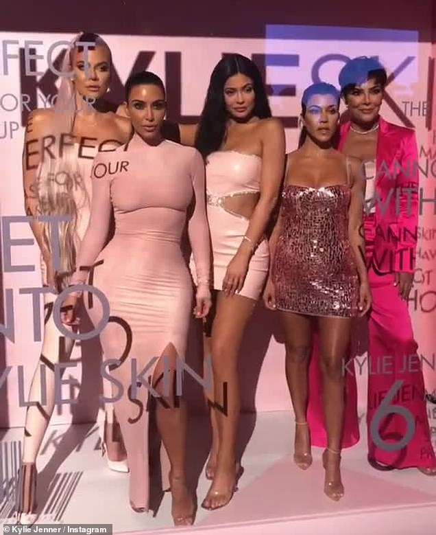Quintet: Her sisters and parents clubbed together for Kylie 's skincare launch
