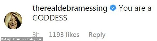 Goddess:Debra Messing chimed in, adding, 'You are a GODDESS,' while Meredith Hagner offered, 'You are the best' and Judd Apatow said, 'Rock on'