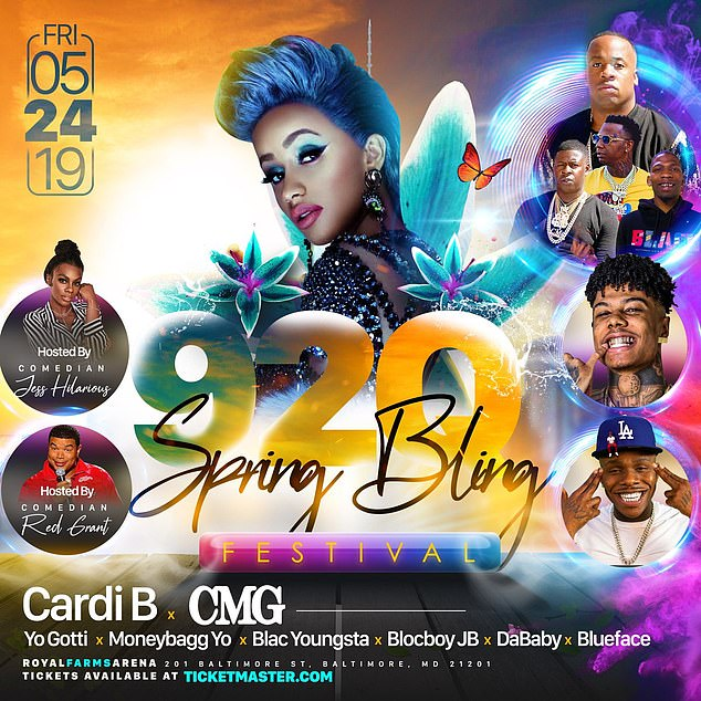Cancelled:Cardi was one of the headliners of this Friday's 92Q Spring Bling Festival, and a makeup date of September 8 has since been announced by the event organizers