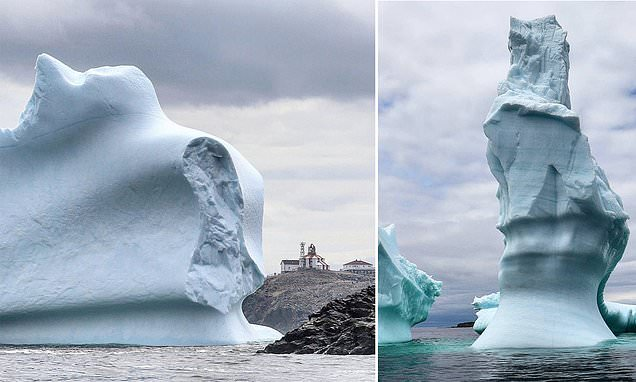 Jaw-dropping images reveal 150-FOOT-TALL glacial masses floating through Canada's 'iceberg