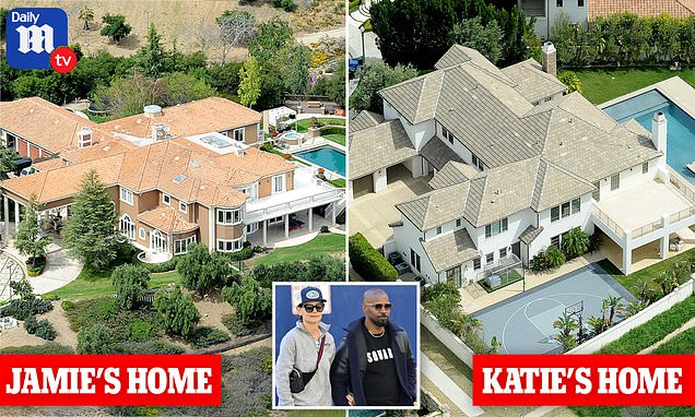 Aerial photos show Katie Holmes' and Jamie Foxx's luxurious California mansions