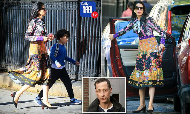 Huma Abedin seen for the first time since Anthony Weiner is released from Bronx halfway