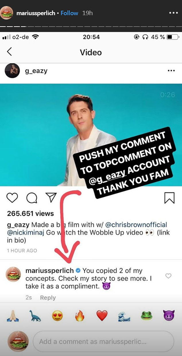 Making it known: Sperlich also left a comment on G-Eazy's Instagram as he also starred in the new clip