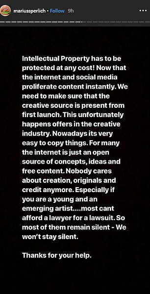 Not holding back: Heposted a lengthy message centered around how he feels his works were stolen