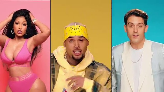 Colorful:The artists went after Brown just hours after he released his his twerking music video for his new single, Wobble Up, featuring Nicki Minaj and G-Eazy on Monday