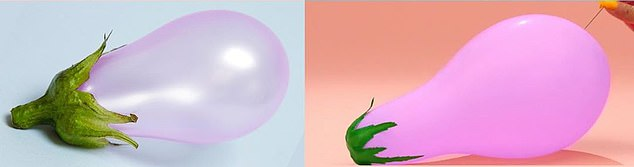 Not ripe: Vanessa Mckeown's balloon eggplant pictured left, Brown's pictured right