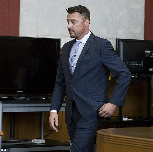 Reality TV star Chris Soules arrives in the courtroom Tuesday for his sentencing which was delayed by Judge Andrea Dryer after a request from both sides