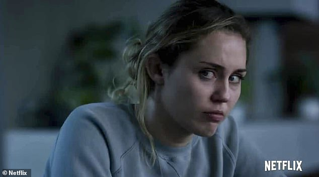 Not well:Miley Cyrus will make her Black Mirror debut in the fifth series, seen playing a depressed and fragile pop-star, Ashley Too, in the latest trailer