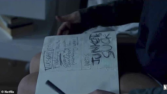 Not doing so well on the inside: The scene cuts to Miley's character scribbling in her journal, in which she writes in big bold writing: 'Junkets suck'
