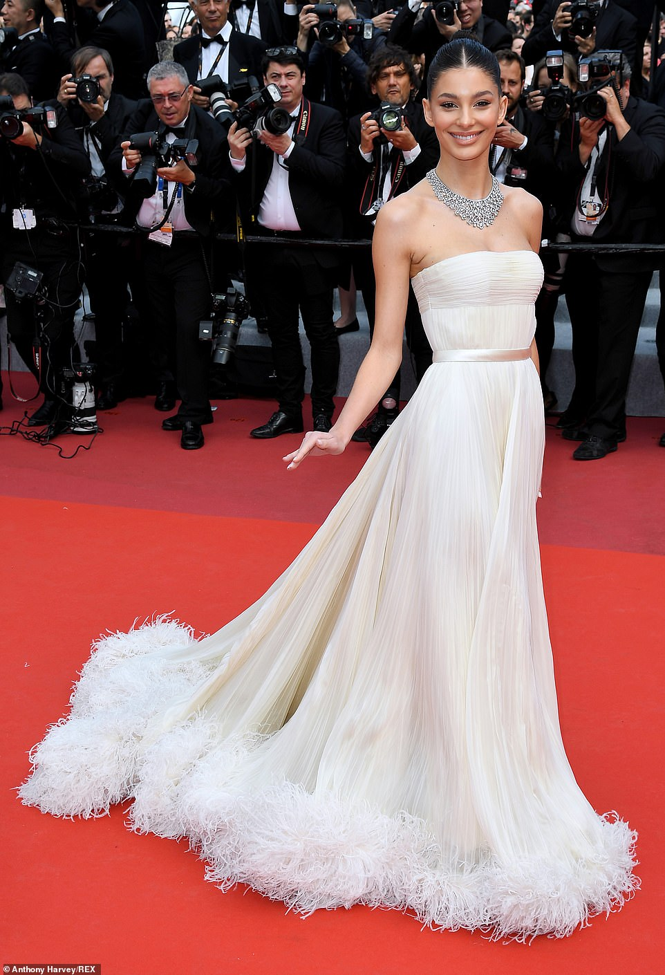 Beautiful: Leonardo's girlfriend Camila Morrone,21, also came out to support her beau in astunning ivory strapless gown