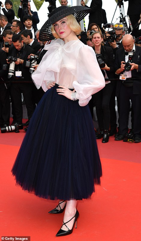 Flawless: The actress displayed her quirky sense of style in a navy tulle skirt and puff ball shirt