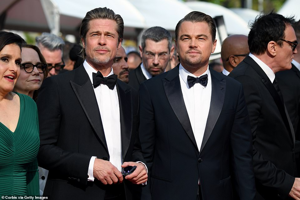 Friendly: Brad and Leonardo opted for matching tuxedos as they arrived on the red carpet