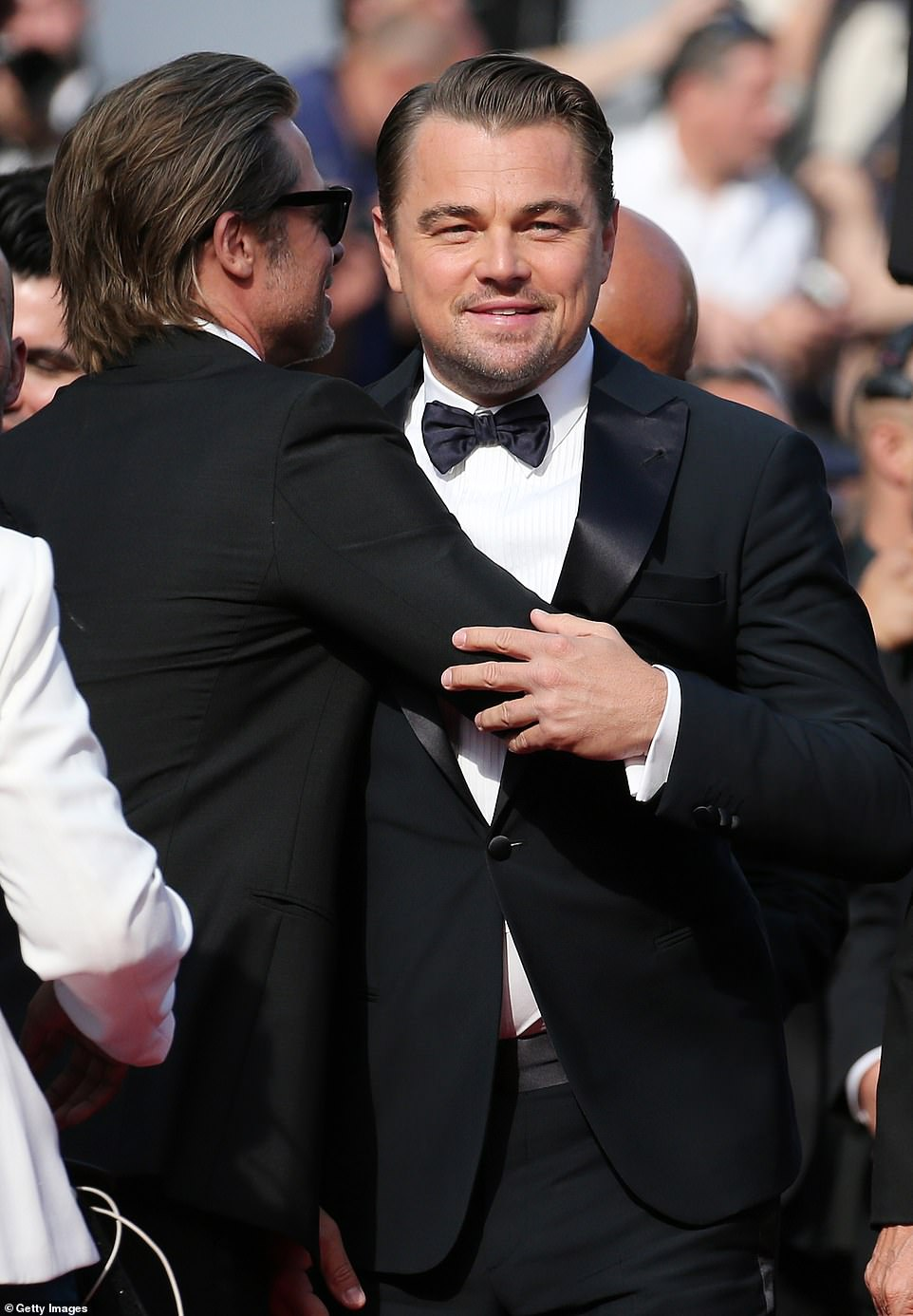 Pals:Leonardo DiCaprio and Brad Pitt delighted fans as they shared a friendly embrace at the star-studded premiere for Once Upon A Time In Hollywood at the Cannes Film Festival on Tuesday