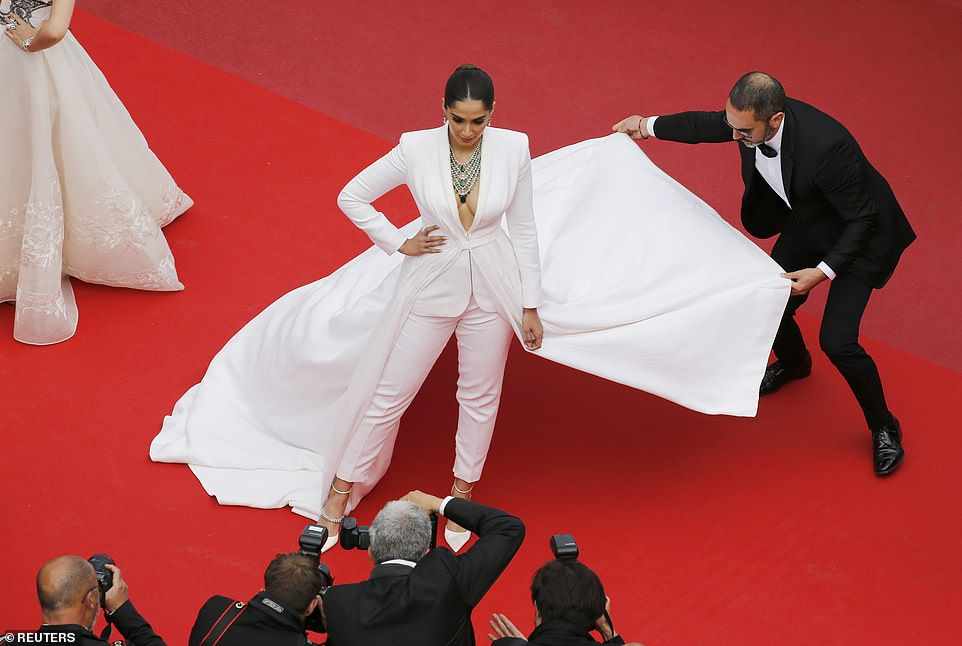 Incredible: Sonam looked amazing in the unusual ensemble as she arrived for the film launch event