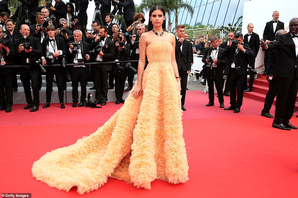 Dramatic:Sara Sampaio, 27, also turned heads in a strapless tulle gown in a gorgeous peach shade as she walked the red carpet