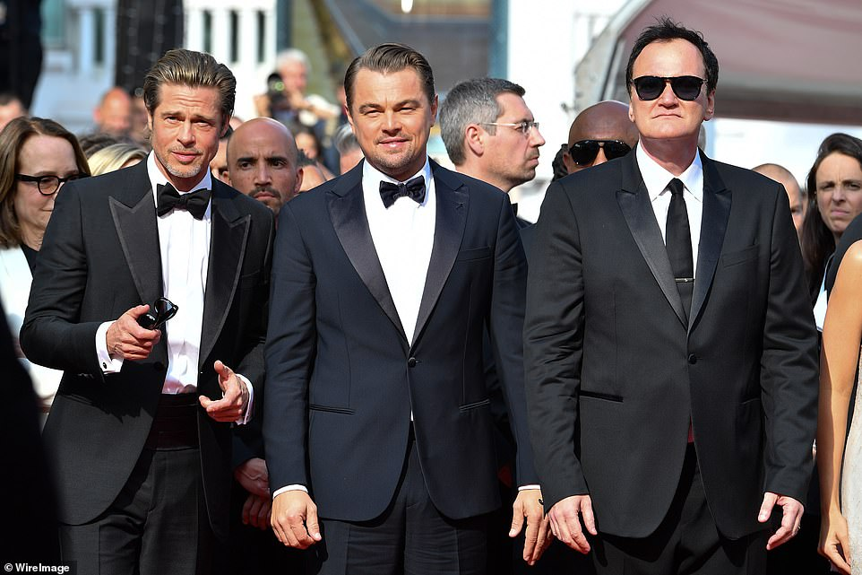 Here come the boys! Brad Pitt, Leonardo Dicaprio and Quentin Tarantino conjured the image of Reservoir Dogs as they took to the red carpet