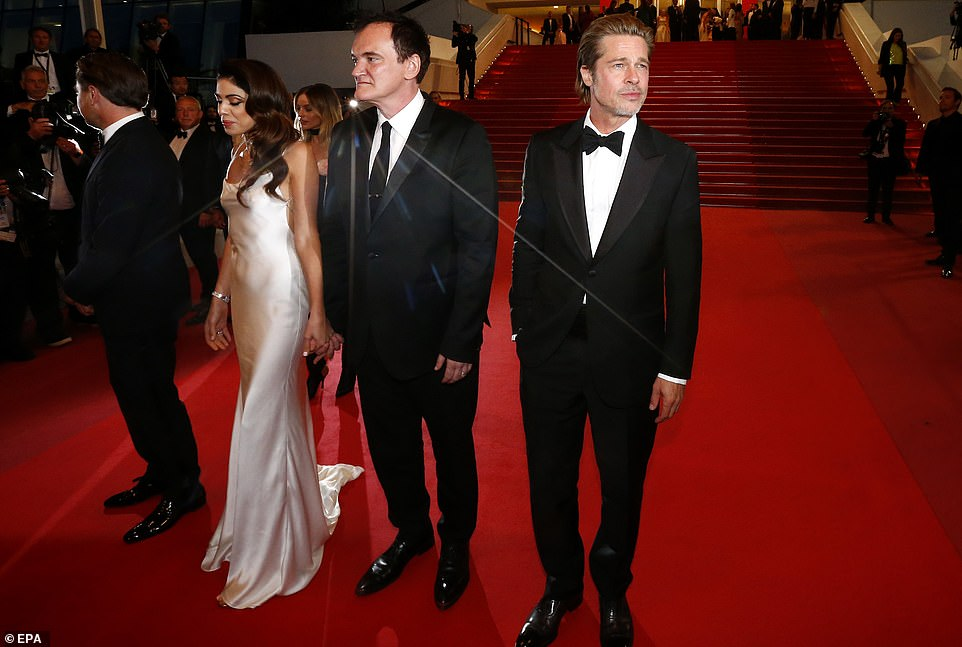 Smouldering: Brad did his best Blue Steel impression as he took to the red carpet