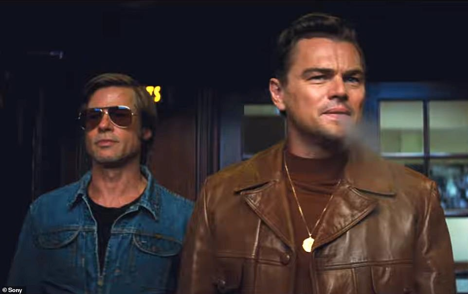 Leading men: It came as Sony also released another trailer for the film to coincide with the premiere, offering a glimpse of Leonardo and Brad in action asTV star Rick Dalton andstunt double Cliff Booth respectively (above)