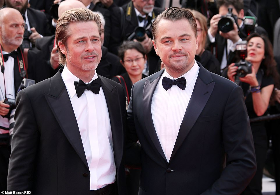 Best of friends: The star was beaming as he reunited with Brad for the lavish event, which offered the first screening of the long-awaited film