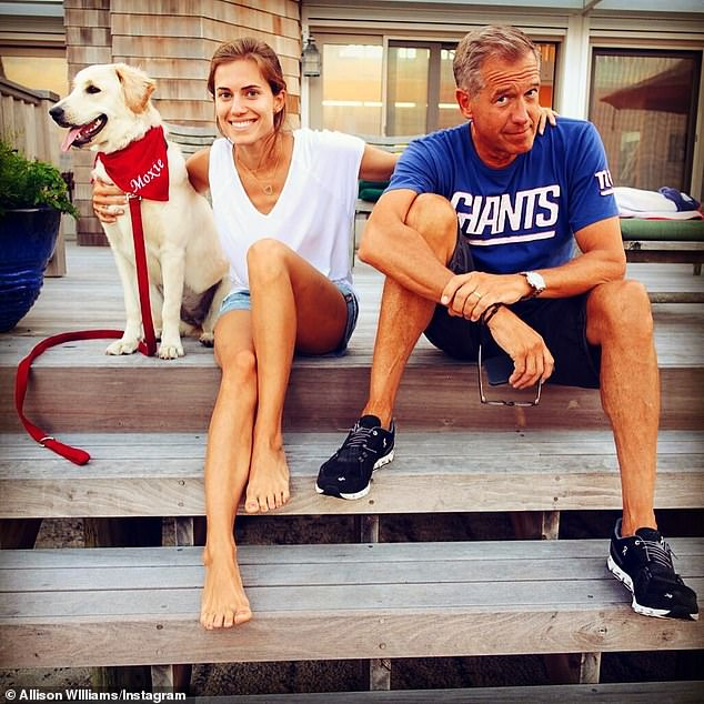 Keep it light: It was a tough film for the Connecticut-born Yale grad to screen for her famous father - MSNBC chief anchor Brian Williams (R) - who's known to watch the 2003 rom-com Love Actually 'several times a year' (pictured in 2015)