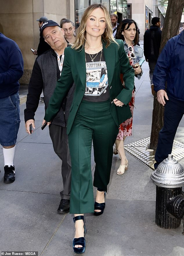 Trendsetter: Olivia Wilde cut a trendy display when she stepped out to promote her new film, Booksmart, on the Today Show in New York City on Tuesday