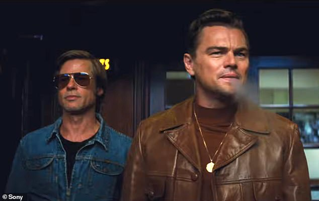 Leading men: A-listers Brad Pitt and Leonardo DiCaprio were featured prominently in the clip