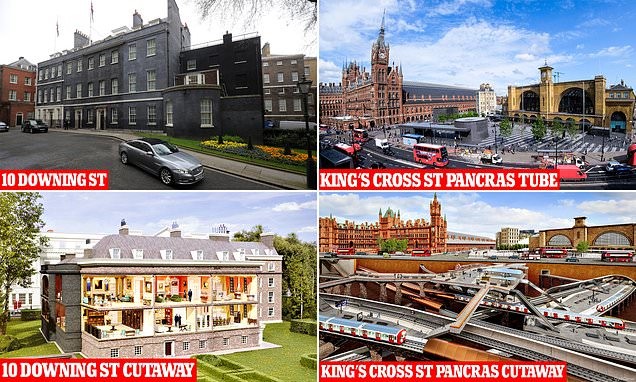 London's most famous landmarks from 10 Downing St to Big Ben with their exteriors peeled