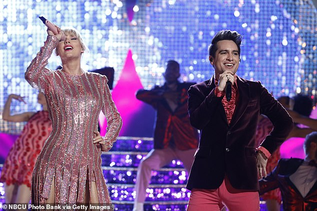 Popular tune: Brendon Urie joined Taylor to sing their hit song Me! that reached number two on the Billboard Hot 100 chart