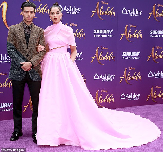 Side by side:Naomi Scott and Mena Massoud posed up a storm together at the Los Angeles premiere of their new film Aladdin on Tuesday