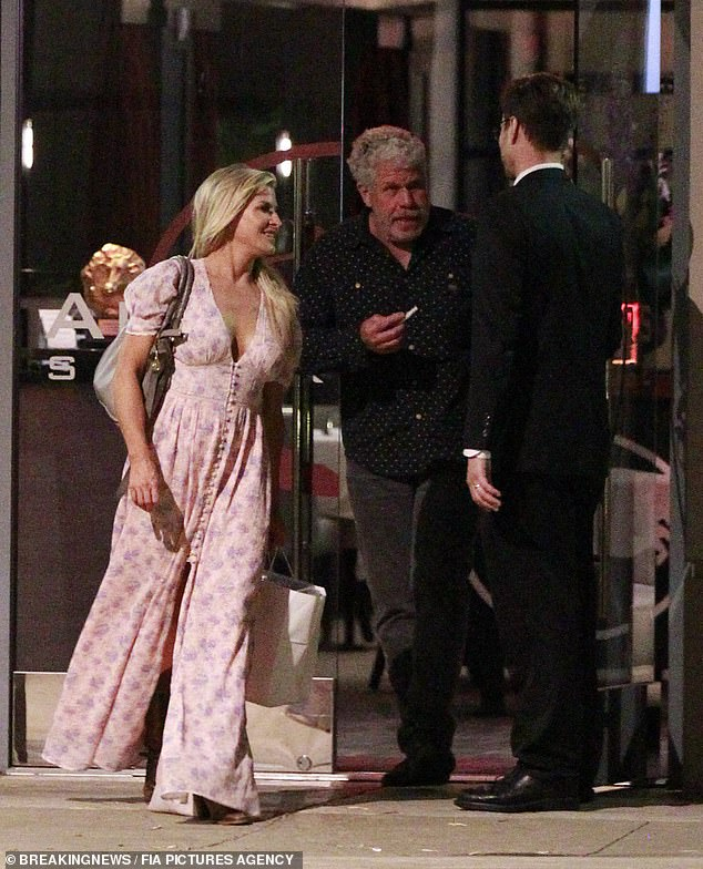 Date night: The 69-year-old actor - who has been married to jewelry designer Opal for 38 years - was seen leaving Alexander Steakhouse in Pasadena with his blonde companion