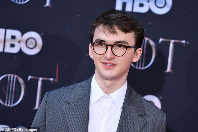'It's actually real?' Game Of Thrones star Isaac Hempstead Wright admitted he thought the final script was a JOKE as he lent sympathy to unhappy fans in an interview with Entertainment Weekly on Sunday (pictured in New York City, April 2019)