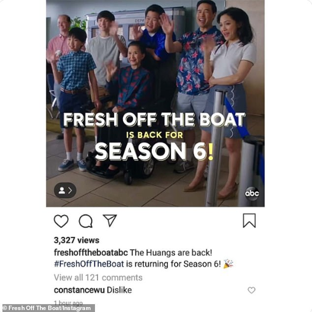 """Not happy"""" Wu came in for heavy criticism earlier this month after she 'disliked' ABC's Twitter announcement that it is renewing Fresh Off The Boat for a sixth season"""