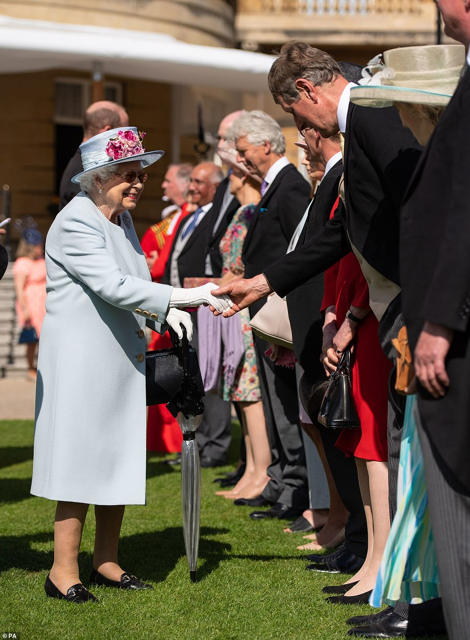 The Queen greets guests at the garden party, which gives Her Majesty the opportunity to meet people from across the UK
