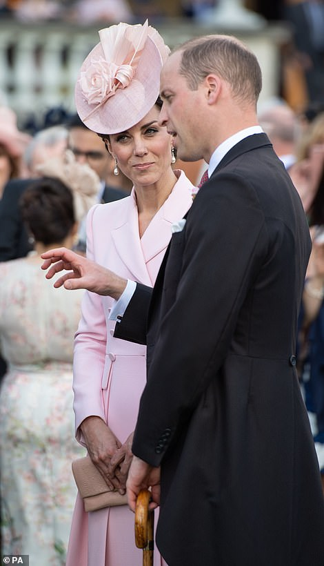 The Duke and Duchess of Cambridge at the garden party this evening