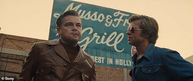 Wow:Once Upon A Time In Hollywood has been met with rave first reviews following its world premiere at the Cannes Film Festival on Tuesday (Leonardo DiCaprio and Brad Pitt in the film)