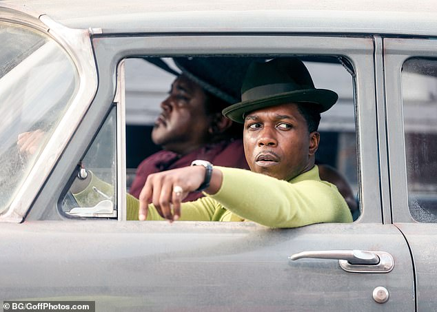 Car ride:Also spotted on the set was Hamilton star Leslie Odom Jr., who was seen wearing a light green turtleneck brown pants and a black hat