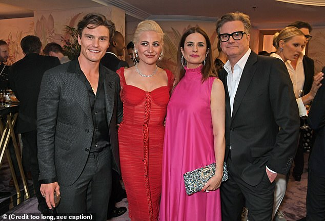 Catching up with friends: (L to R) Oliver Cheshire, Pixie Lott, Livia and Colin all posed for snaps
