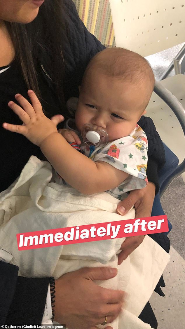 'Immediately after' the operation, Isaiah looked a little groggy as he held onto his mother and self-soothed with a pacifier; seen on Instagram
